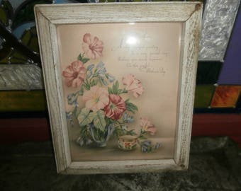 Vintage Mother's Day print wall hanging framed picture white shabby frame floral design with a greeting