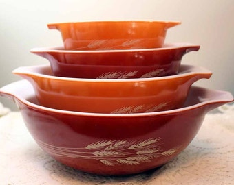 Pyrex Wheat Mixing Bowls, Pyrex Autumn Harvest Mixing Bowl Set of 4, #441, 442, 443,444, Cinderella Handles, Nesting Bowls