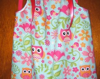 Girls Owl Pillowcase Dress, Hot Pink Polka Dot, Aqua, Blue, Pink, Green, 3month-8years, Infant, Toddler, Summer, Beach Vacation, Birds, Owls