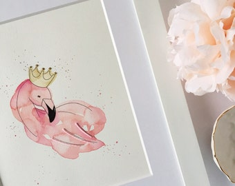 Princess Flamingo, Flamingo with Gold Crown Nursery Art, Pink Flamingo Nursery Art, Flamingo and Tiara Baby Girl Nursery Decor, 8x10