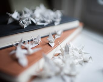 100 - Handmade Mini Origami Paper Cranes in White