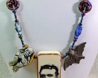 Edgar Allen Poe Domino Pendant with Gargoyle and Bat Beads plus Glass Cats A Perfect Necklace for an English Teacher