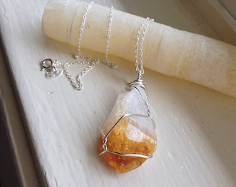 Citrine, Raw - Sustainable Silver Wirewrapped Necklace & 18 Inch Cable Chain - Ecofriendly, Woman's, Stress Relieving, Life Changes