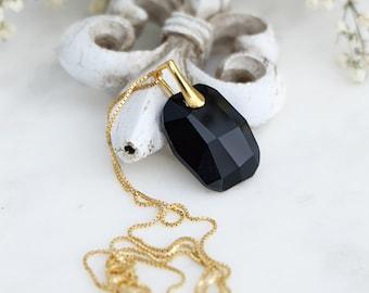 Swarovski pendant necklace, Black crystal necklace, Black gold pendant, Sterling Silver necklace, Minimalist necklace, Rectangular pendant