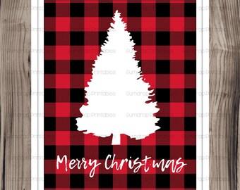 Holiday Printable ~ Merry Christmas Plaid Print ~ Buffalo Plaid ~ Lumberjack Plaid ~ Christmas Decor ~ Holiday Decor ~ Print ~ Winter Tree