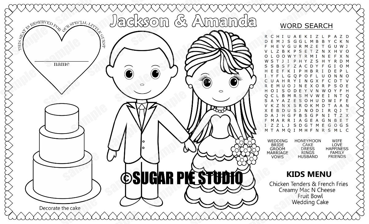 PRINTABLE Personalized Wedding Favor Menu Placemat Place-mat
