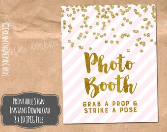 Printable Photo Booth Sign 8x10 Gold Confetti Blush Pink Stripes Wedding, Bridal Shower, Baby Shower Digital Download