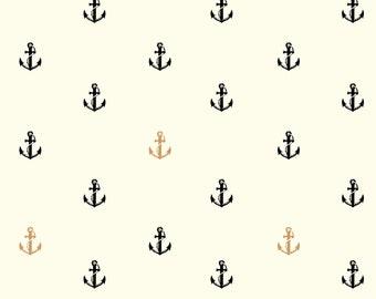 Birch Inkwell POPLIN - Jay-Cin Design - Organic Cotton Poplin - Black and White Anchor - Metallic Nautical Fabric