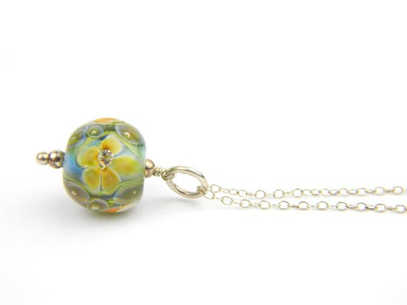 Art Glass Pendant - Medium Blue and Gold Art Glass Bead Sterling Silver Pendant - Classic Collection
