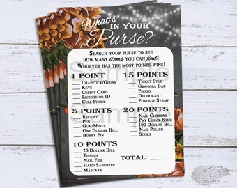 Whats in Your Purse Bridal Shower Game Printable, Floral Wedding Shower Games, Baby Shower Game, Party Games, Instant Download