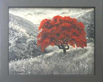 Grayscale: The Red Tree
