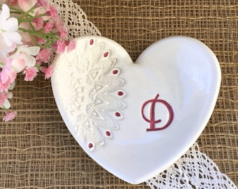 Heart Shaped Gift Dish with Lace Imprint,  Bridesmaids Gifts, Ring Dish, Jewelry Dish, Ring Bowl, Favor for Bridesmaids,
