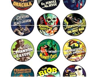 "1"" Inch Vintage Horror Flatbacks, Pins or Magnets 12 Ct."
