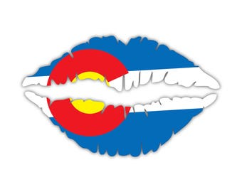 Colorado State Flag Lips Custom Vinyl Snowboard Kiss Decal Sticker