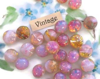 10 Vintage Harlequin stones, Glass Fire Opal stones,8mm harlequin, pink opal Stones, Shabby chic,Pink NOS Foil Old 611RS