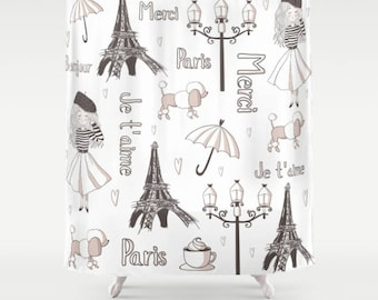 Paris Shower Curtain, Paris Bathroom, Parisian Shower Curtain, France Shower,  Paris Girl