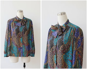 Paisley Blouse Ascot Blouse Jewel Tone Colorful Blouse Neck Tie Blouse Secretary Blouse  L XL