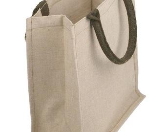 Natural Jute/Cotton Tote Bag, Burlap Tote, Jute Tote, Reusable Bag, Bag, Tote, Jute, Burlap, Hamper Beach Bag, Beach Bag, Eco Friendly