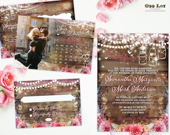 Floral Wedding Invitation Coral and Pink Flowers Rustic Wedding Invite Set Romantic Bohemian Flowers with Hanging Lights Printable Invites