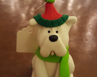 Clay White Dog Hand Sculpted Christmas Ornament