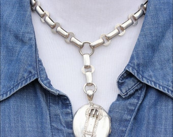 Antique Victorian Collar and Locket Necklace with Buckle Motif Locket in Sterling Silver