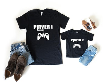 Player 1 & 2 Shirt Set • Matching Father Son Top, Gaming Dad Gift, Dads Gift Idea, Gift For New Dad, Father Son Toddler Shirt, LegendAttire