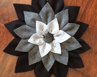 Handmade Felt Gray Multi Flower