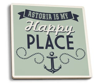 Oregon - Astoria is My Happy Place - LP Artwork (Set of 4 Ceramic Coasters)