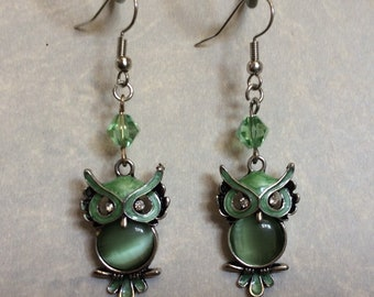 Owl Earrings with Peridot Green Crystal Beads