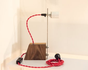 Industrial Walnut Birch & Steel Table Lamp with Red Cloth Cord