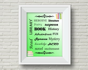 Library Wall Art,Back to School,Library Printable,School Library,Library Decoration,Book Wall Art,Reading Wall Art,Reading Decoration