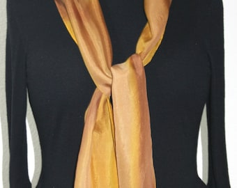 Brown Silk Scarf. Golden Terracotta Hand Painted Silk Shawl. Beige Handmade Silk Scarf CHOCOLATE RUM. Size 8x54. Birthday, Bridesmaid Gift