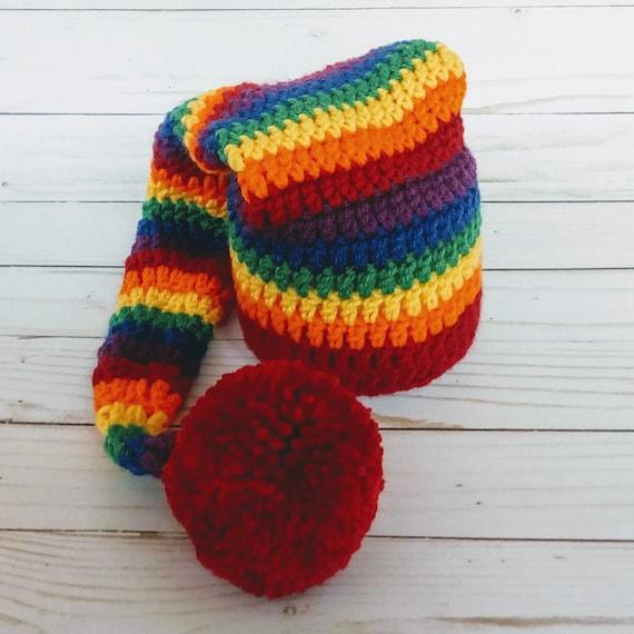 Newborn Rainbow Striped Elf Hat