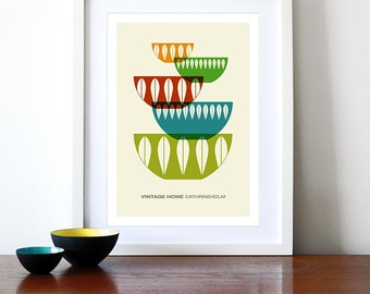 Cathrineholm poster print Mid century modern vintage home retro kitchen art - Vintage home Cathrineholm 3 - A3