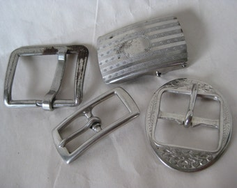 4 Shabby Silver Buckles Vintage