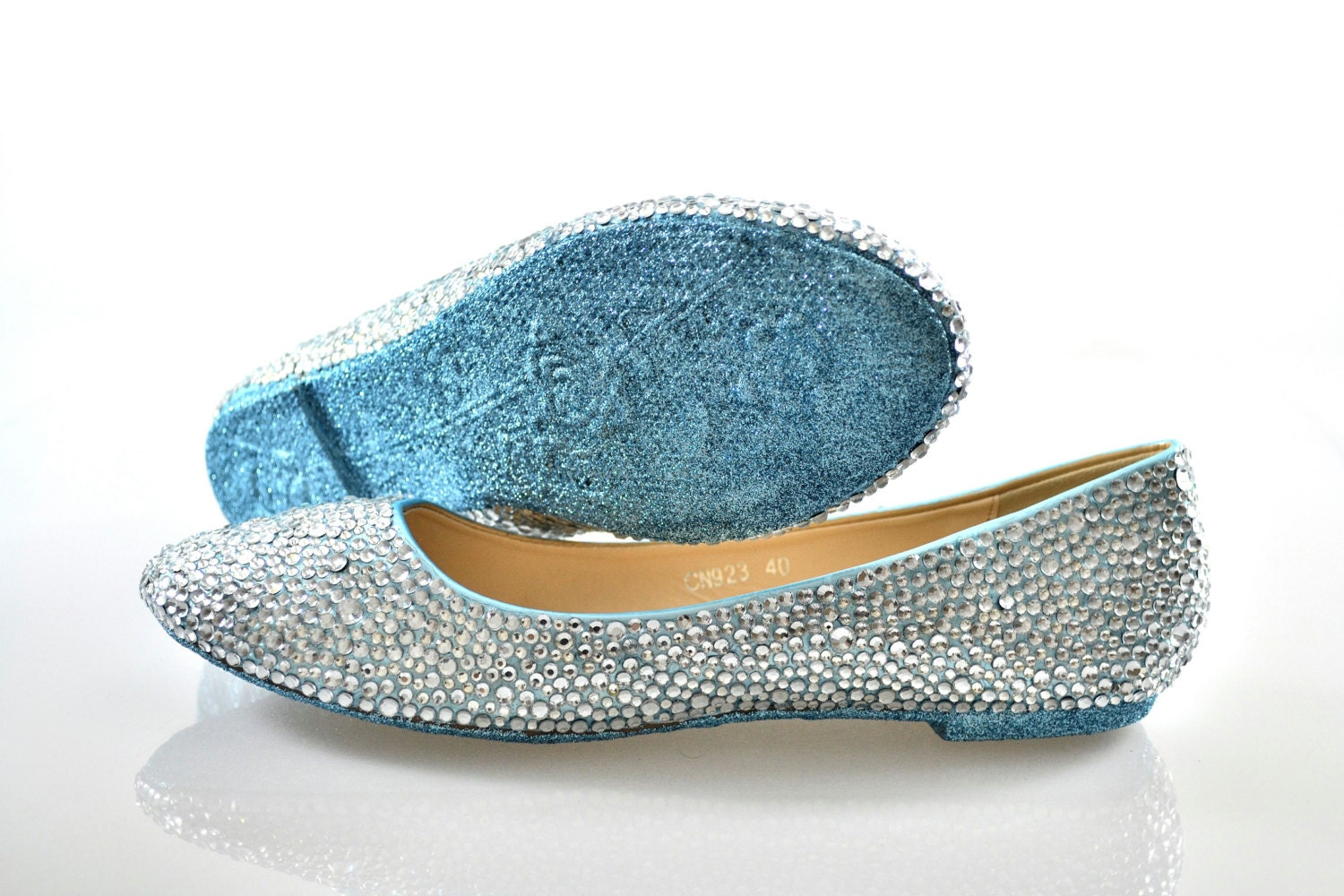 Custom Ice Powder Blue glitter sole & Silver swarovski crystal