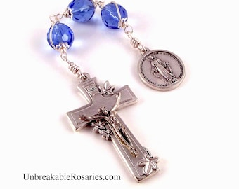 Miraculous Medal Blue Three Hail Mary Rosary Chaplet w  Italian Lily Crucifix by Unbreakable Rosaries