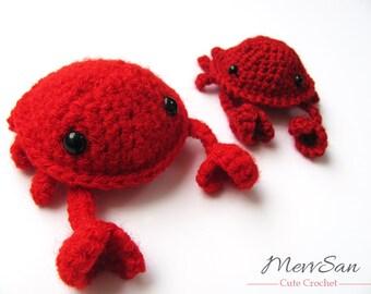 Crochet PATTERN PDF - Amigurumi Crab - amigurumi pattern, crochet crab, red crab pattern, crochet animal, amigurumi toy, plush, softie