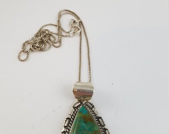 Navajo Kingman Turquoise Pendant SIGNED AL for Augustine Largo Navajo sterling silver necklace PP3327