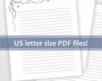 digital download for letter size pdf file printable letter writing paper stationery diy girl face long hair