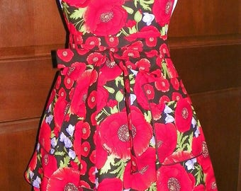Retro Style Double Skirt Apron Large Poppies Trimmed with Tossed Poppies Handmade for Kitchen Cooking Cleaning Craft Activities Nanasaprons