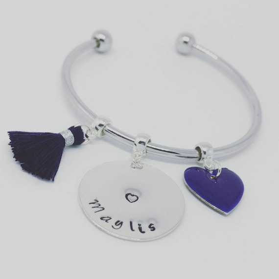 "★ ★ ""Hello love"" personalized silver Bangle Bracelet personalized jewelry"