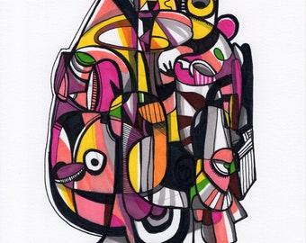 "Tredik - Original mixed media Illustration on Paper - 8"" x 10"""