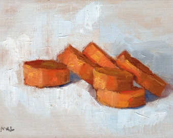 Carrots Painting, Food Art, Oil Painting by Marlene Lee
