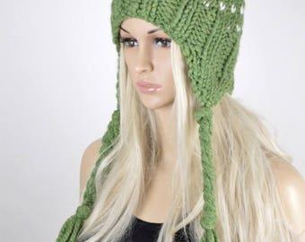 Earflap Hat, Knit hat, Chullo Hat, Pom Pom Hat, Winter Hat, Handmade Hat, Earflap, Wool Blend Hat, Green Apple Earflap