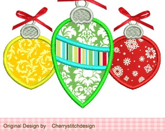 "Christmas Ornaments Machine Embroidery Applique Design -4x4"" 5x5"""