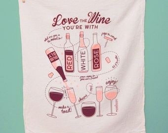 Kitchen Towel, Dish Towel, Hostess Gift, Wine Lover