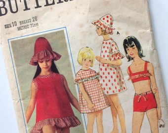 1960s Butterick Girl's Beach Cover Up & Bikini Sewing Pattern No. 4015 Age 10 Years