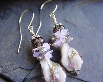 Lampwork and Swarovski Crystal with Sterling Silver Earrings