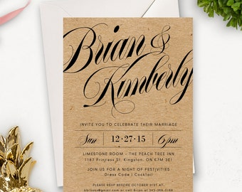 Rustic Wedding Invitation Printable / Elegant Wedding Invitation Printable / Rustic Printable Wedding Invitation Download / Customizable